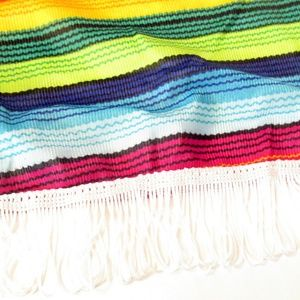 Swim - Serape Print Fringed Swimsuit Cover Poncho OS